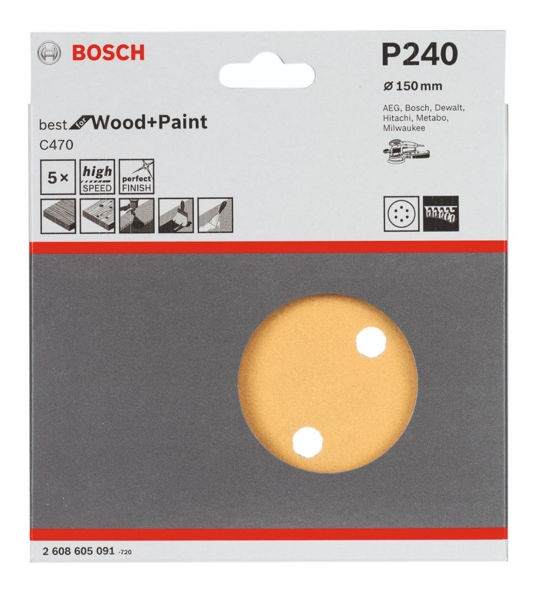 DISCO DE LIJA BOSCH 150MM GR80 5UN WOOD 605087