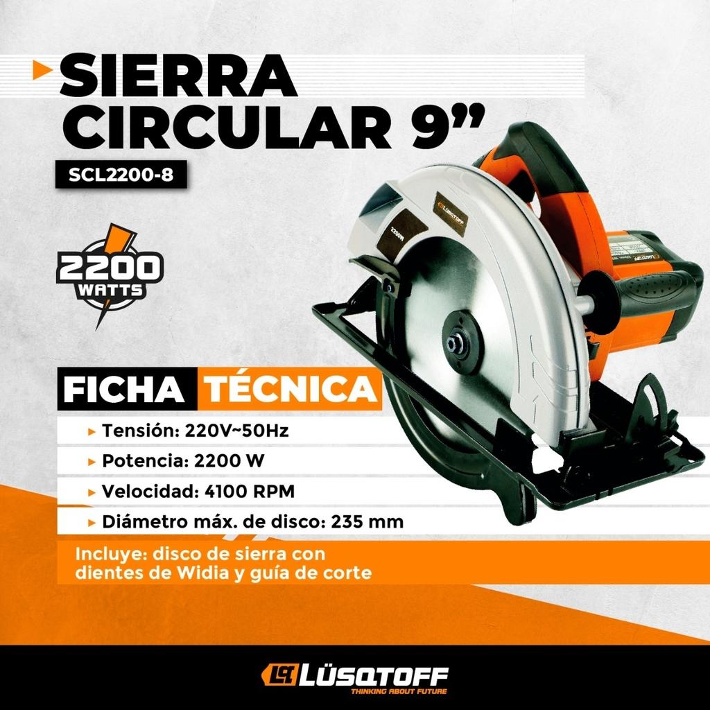 SIERRA CIRCULAR 2200W LUSQTOFF MADERA 235MM 9 1/4 + GUIA