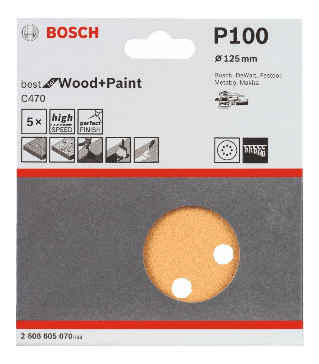 DISCO DE LIJA BOSCH 125MM GR60 5UN WOOD 605068