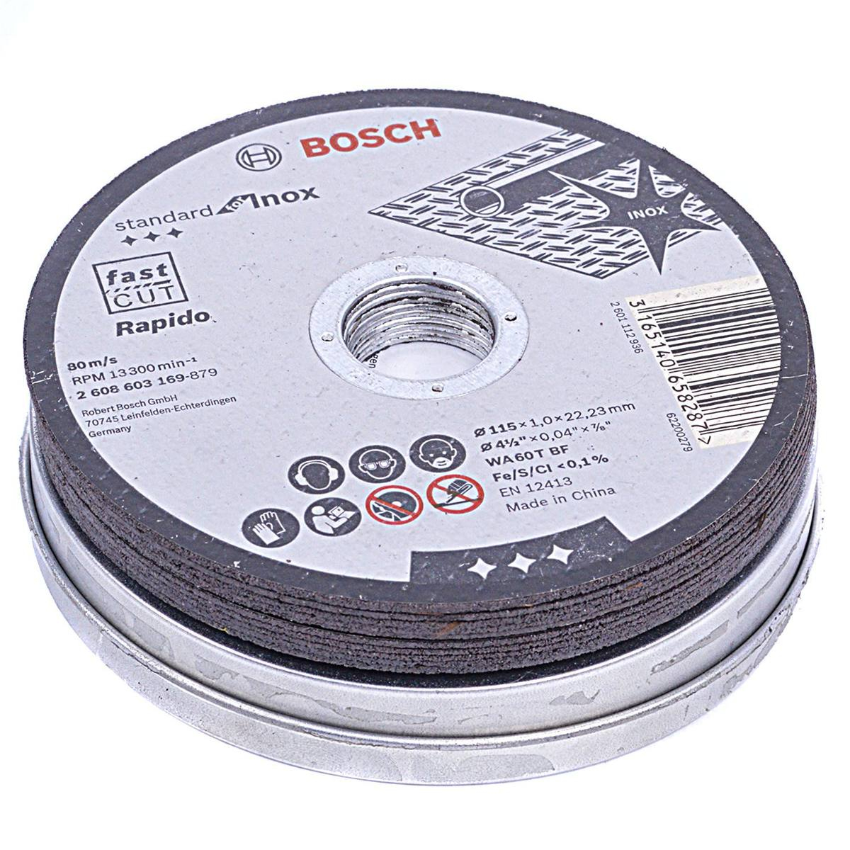SET 10 DISCOS C.METAL BOSCH 115*1 LATA  603254